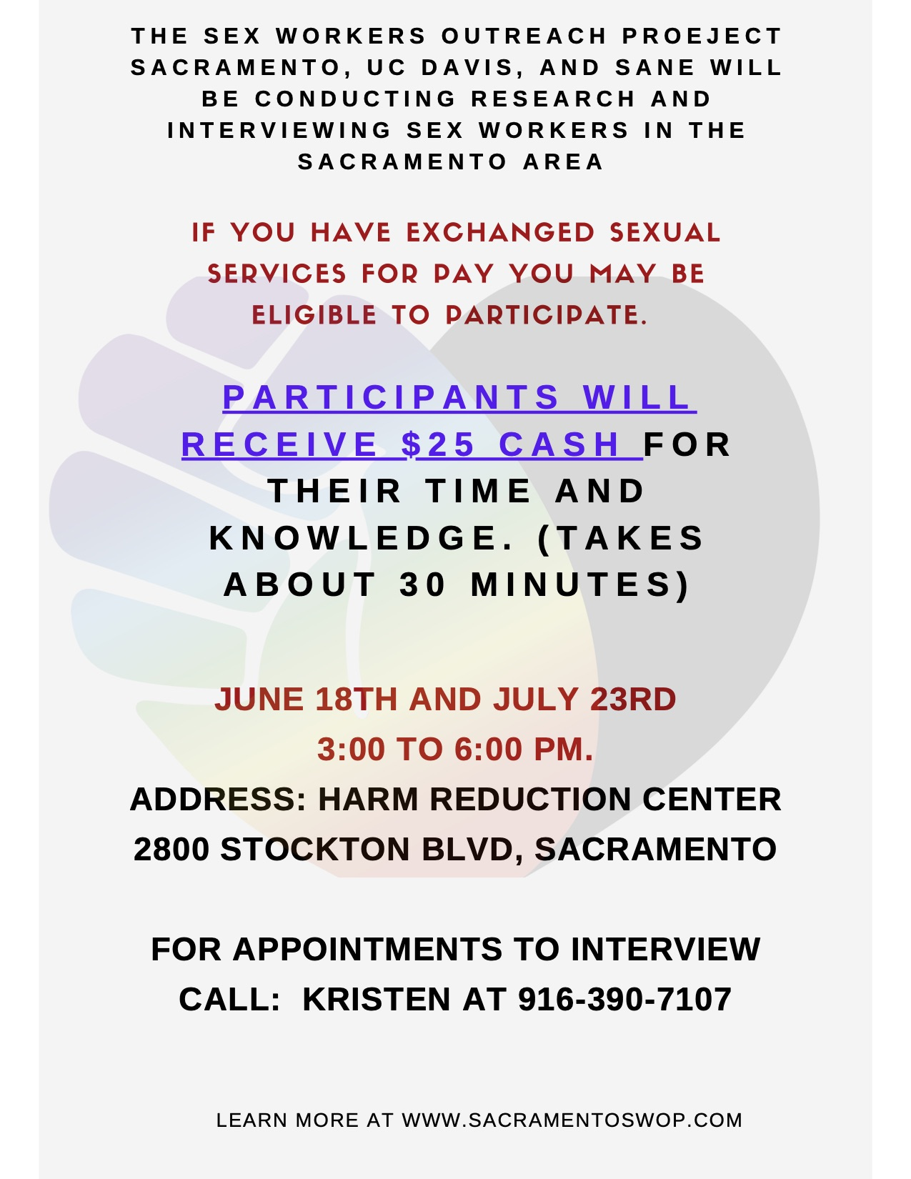 Information on Paid Interviews of Sex Workers